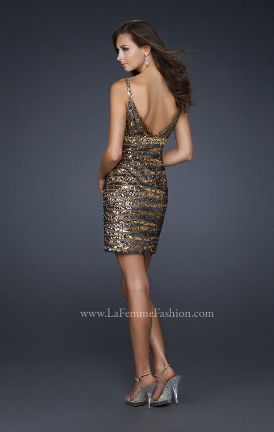 Picture of: Brown and Black Striped Shirt Dress with V Neck and Back in Gold, Style: 17068, Back Picture