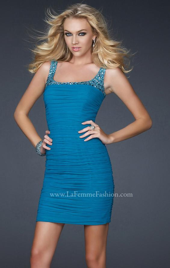 Picture of: Stretch Net Short Dress with Stone Incrusted Straps in Blue, Style: 17076, Main Picture