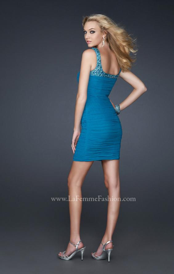 Picture of: Stretch Net Short Dress with Stone Incrusted Straps in Blue, Style: 17076, Back Picture