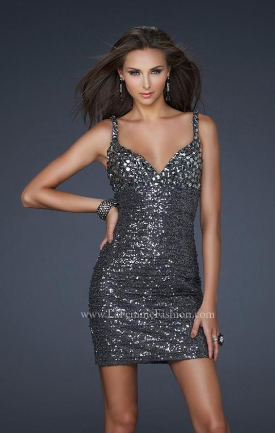Picture of: Short Empire Dress with V Back and Stones and Sequins in SIlver, Style: 17105, Main Picture