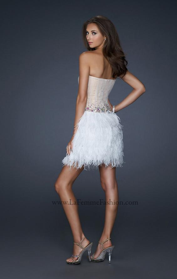 Picture of: Short Dress with Embellished Bodice and Feather Skirt, Style: 17106, Back Picture