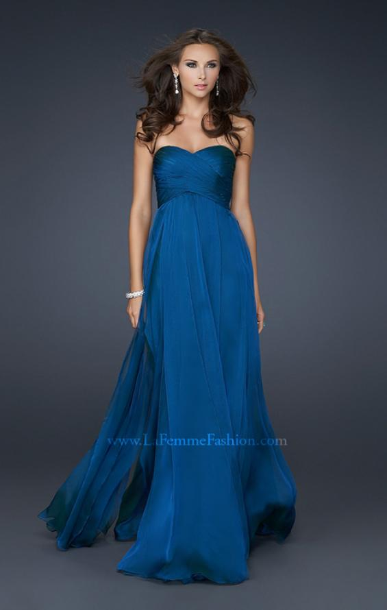 strapless chiffon prom gown by la femme 17111