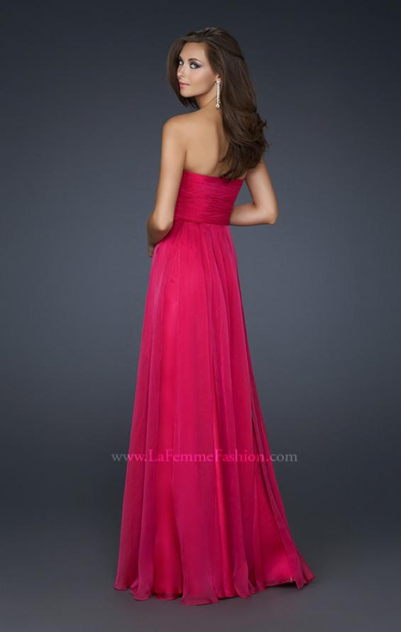 Picture of: Classic Long Chiffon Prom Gown with Pleated Detail, Style: 17111, Back Picture