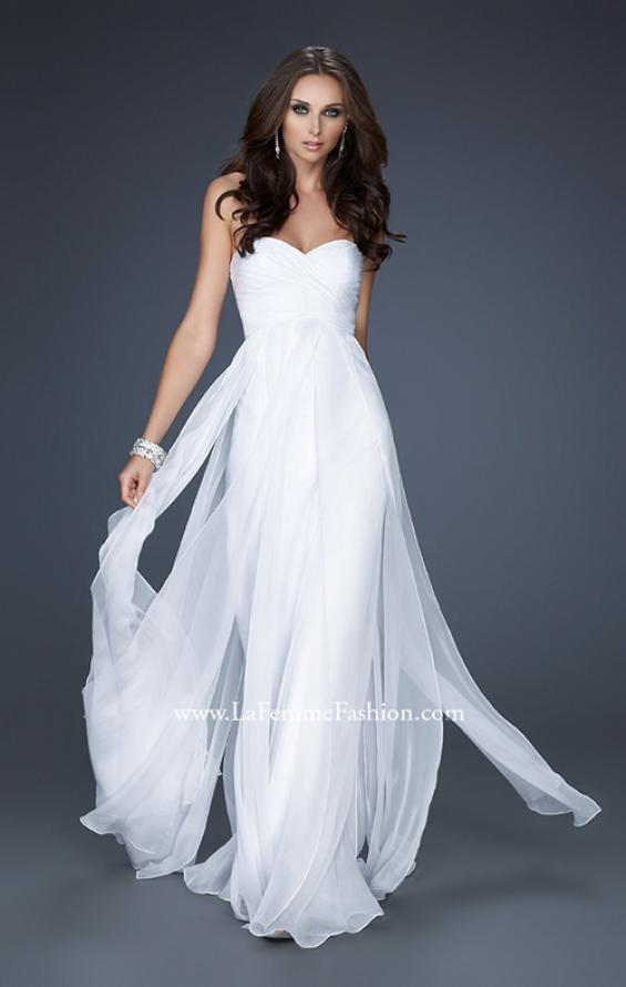 Picture of: Classic Long Chiffon Prom Gown with Pleated Detail, Style: 17111, Detail Picture 2