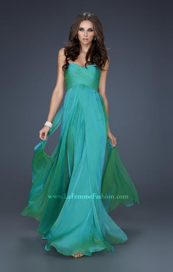 Picture of: Classic Long Chiffon Prom Gown with Pleated Detail, Style: 17111, Detail Picture 4