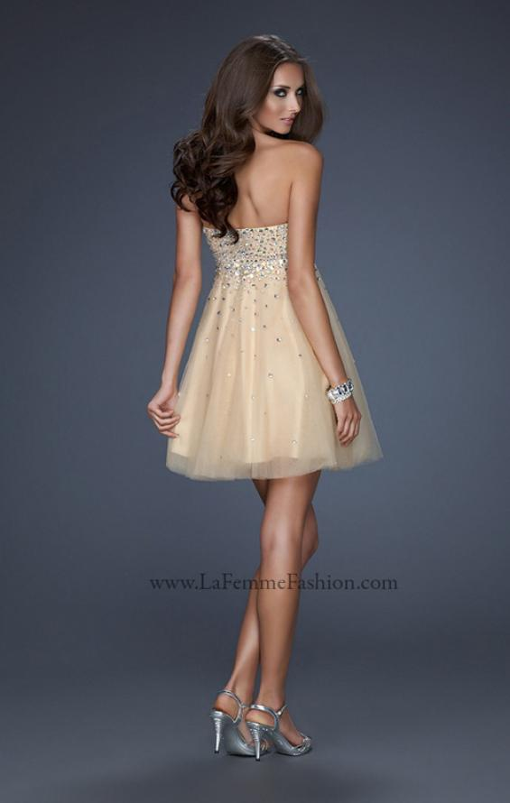Picture of: Playful Cocktail Dress with All Over Beadwork in Nude, Style: 17123, Back Picture