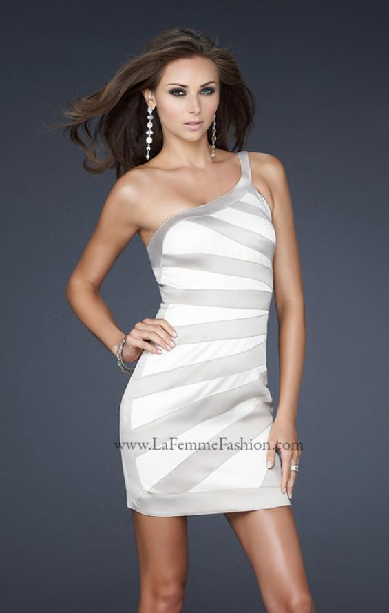 Picture of: Stretch Satin Short Dress with One Shoulder Detail in White, Style: 17134, Main Picture