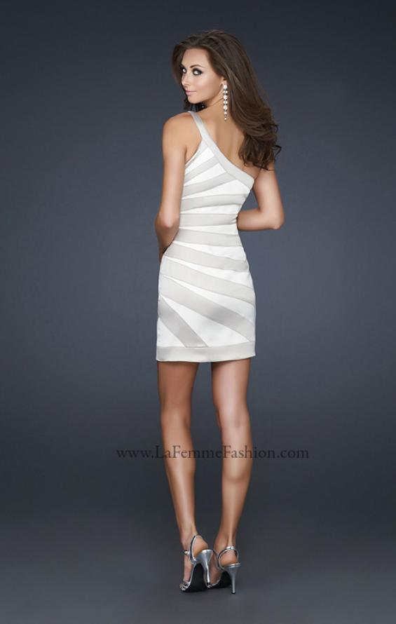 Picture of: Stretch Satin Short Dress with One Shoulder Detail in White, Style: 17134, Back Picture
