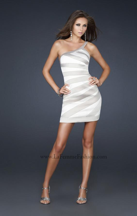 Picture of: Stretch Satin Short Dress with One Shoulder Detail in White, Style: 17134, Detail Picture 1