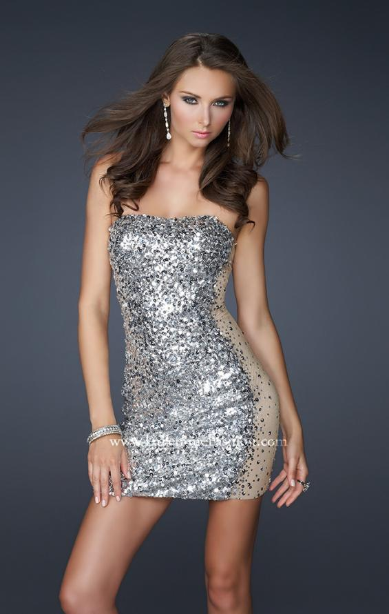 Picture of: Strapless Sequined Cocktail Dress with Nude Side Panels in SIlver, Style: 17136, Main Picture