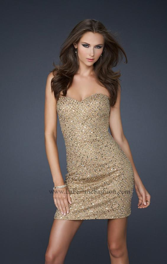 Picture of: Diamond Patterned Cocktail Dress with Beaded Detail in Gold, Style: 17139, Main Picture
