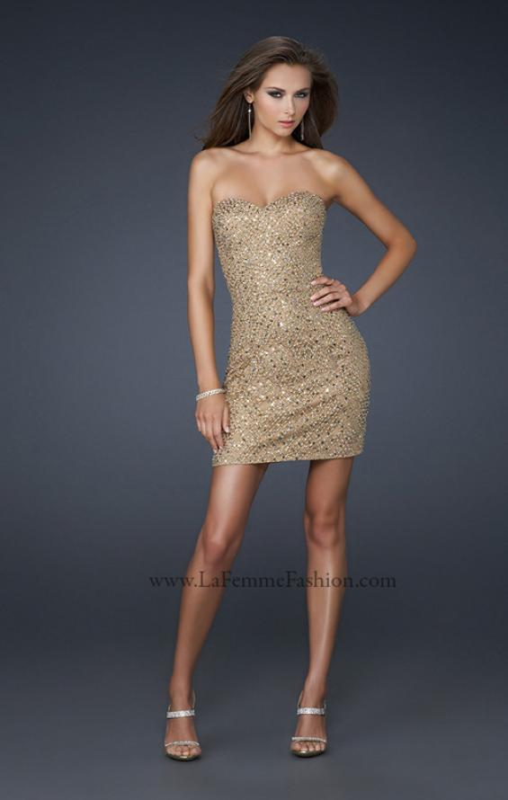 Picture of: Diamond Patterned Cocktail Dress with Beaded Detail in Gold, Style: 17139, Detail Picture 1