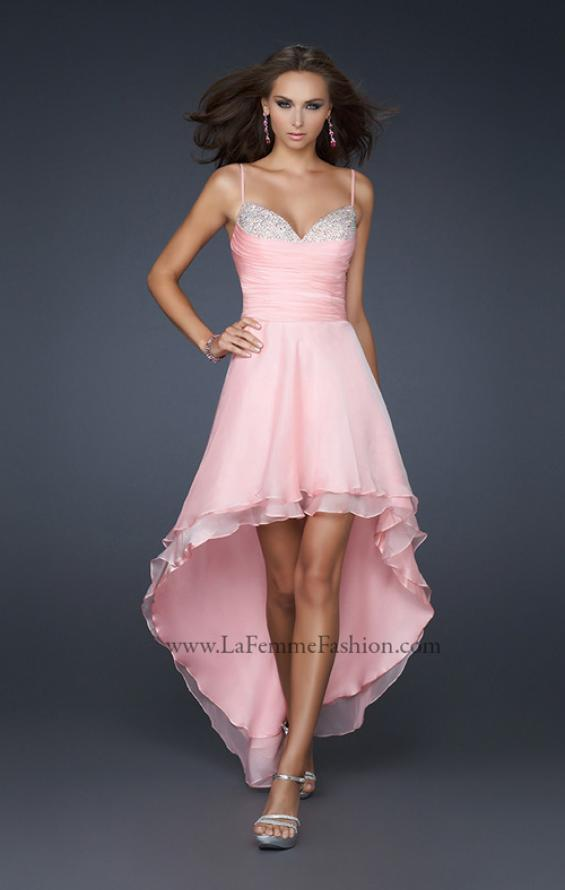 Picture of: Chiffon High Low Prom Dress with Beading and Pleats in Pink, Style: 17141, Main Picture