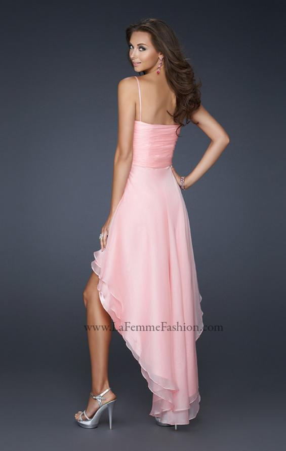 Picture of: Chiffon High Low Prom Dress with Beading and Pleats in Pink, Style: 17141, Back Picture