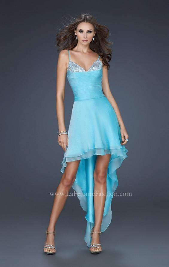 Picture of: Chiffon High Low Prom Dress with Beading and Pleats in Blue, Style: 17141, Detail Picture 1