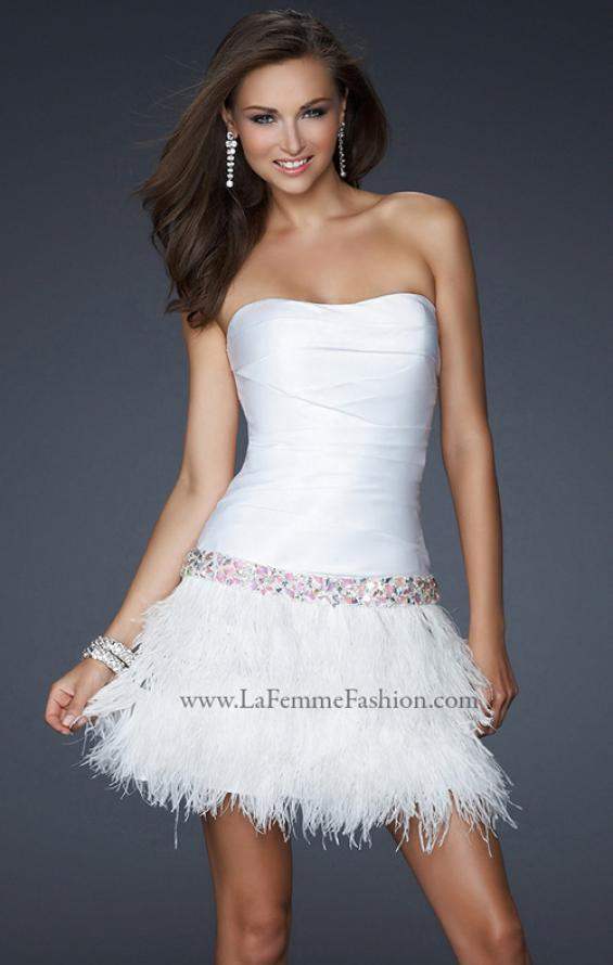 Picture of: Strapless Short Dress with Satin Top and Feather Skirt in White, Style: 17152, Main Picture