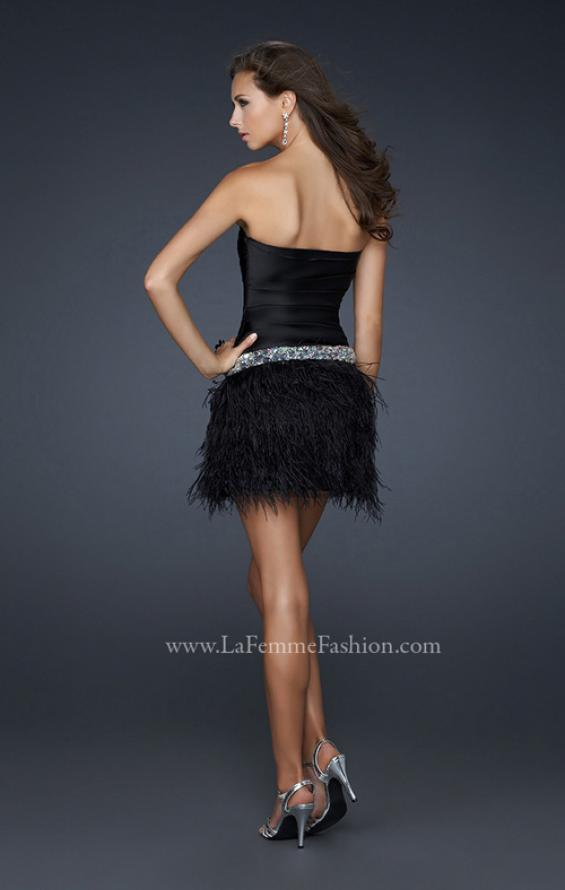 Picture of: Strapless Short Dress with Satin Top and Feather Skirt in Black in Black, Style: 17152, Back Picture