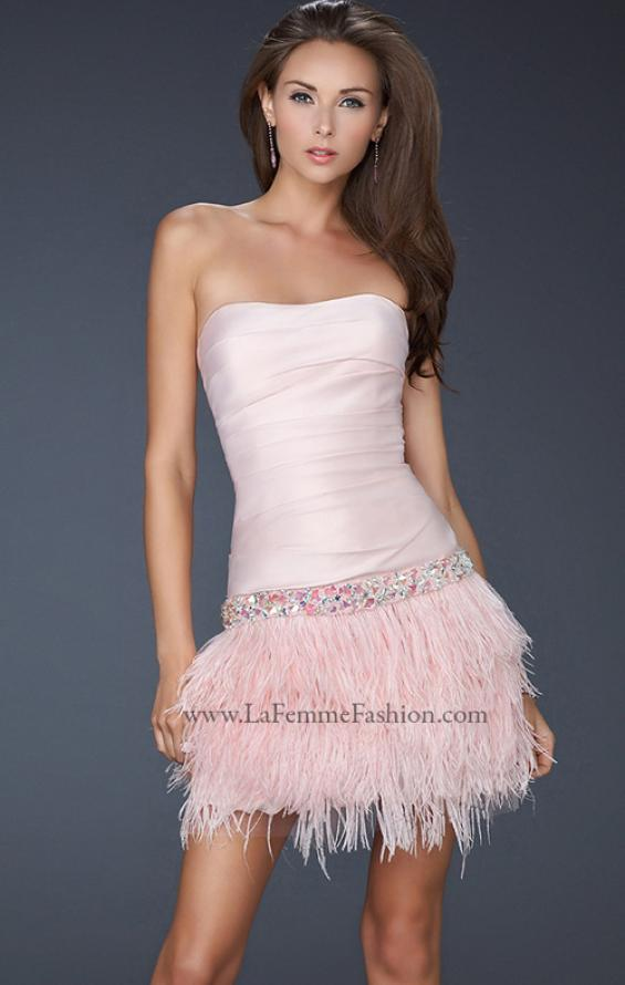 Picture of: Strapless Short Dress with Satin Top and Feather Skirt Pink, Style: 17152, Detail Picture 2