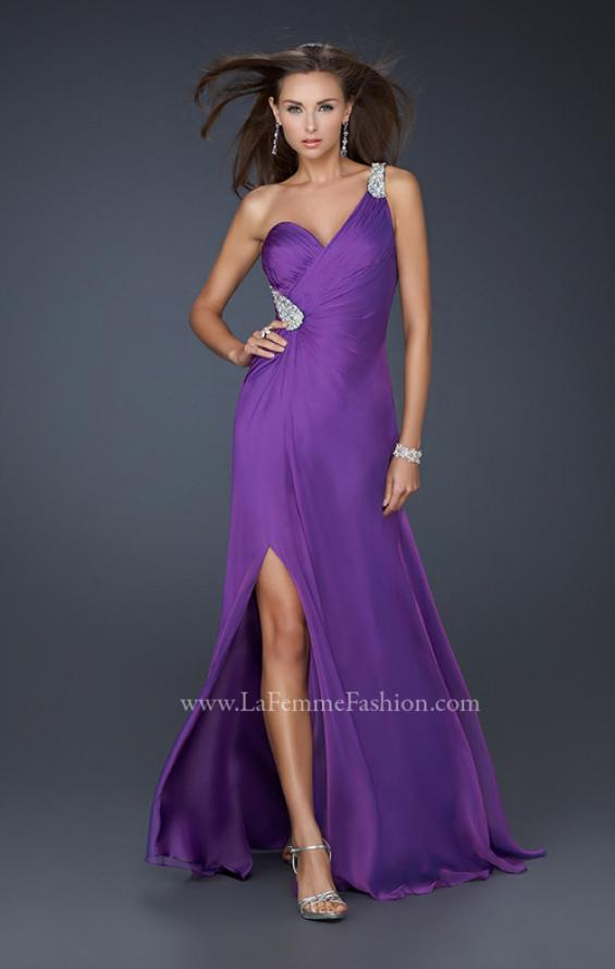 Picture of: One Shoulder Strap Prom Dress with Beaded Hip Design, Style: 17157, Main Picture