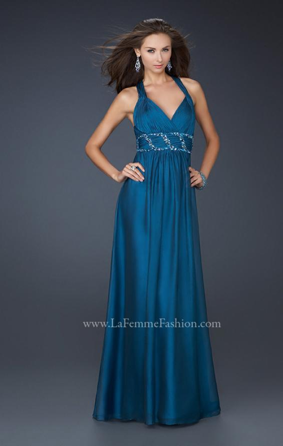 Picture of: Chiffon V Neck Style Prom Gown with Beaded Belt in Navy, Style: 17160, Main Picture