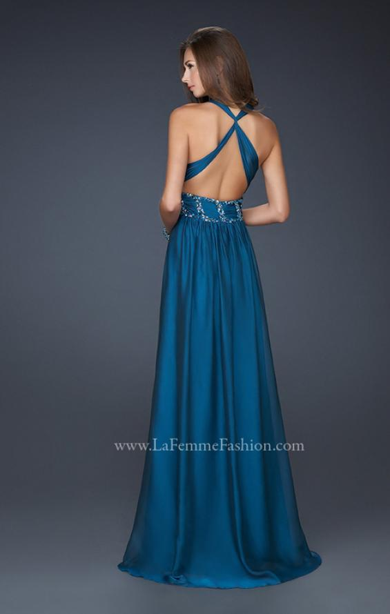 Picture of: Chiffon V Neck Style Prom Gown with Beaded Belt in Navy, Style: 17160, Back Picture