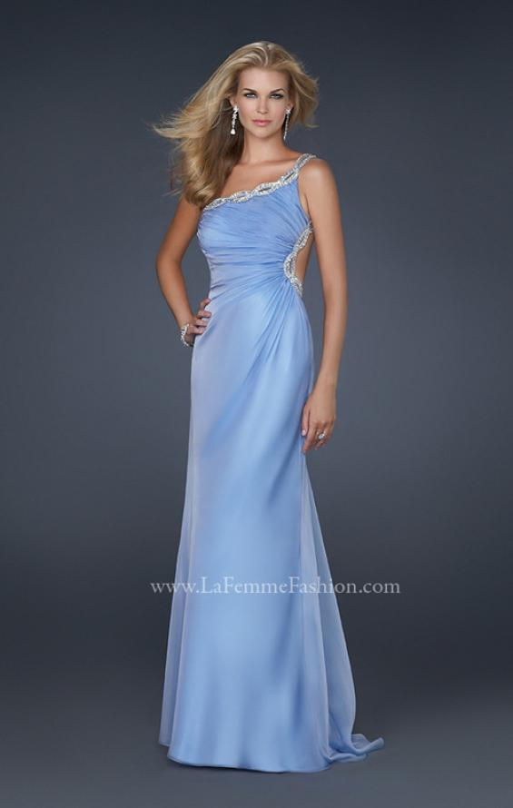 Picture of: One Shoulder Chiffon Gown with Open Back in Blue, Style: 17162, Main Picture