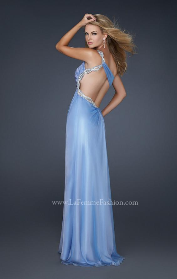 Picture of: One Shoulder Chiffon Gown with Open Back in Blue, Style: 17162, Back Picture