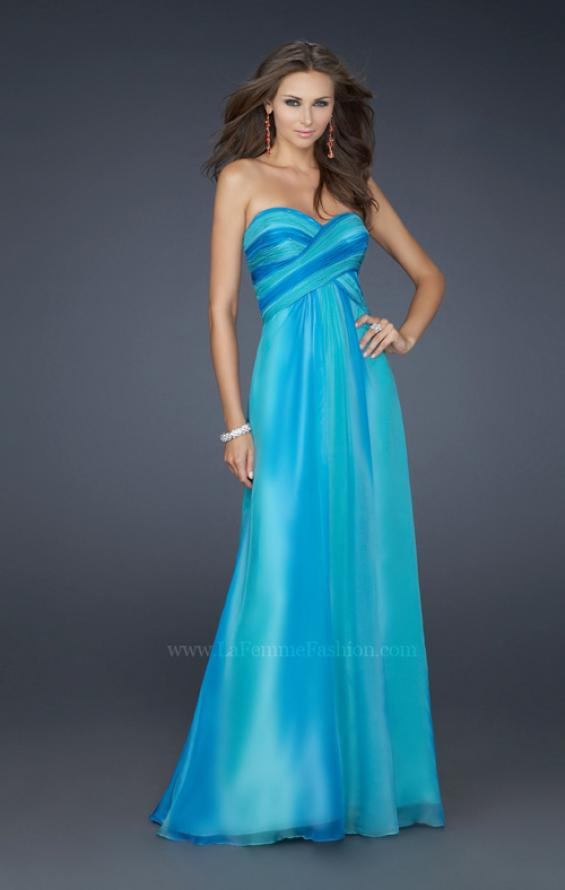 Picture of: Sweetheart Chiffon Dress with Beaded Straps and Train in Blue, Style: 17167, Main Picture