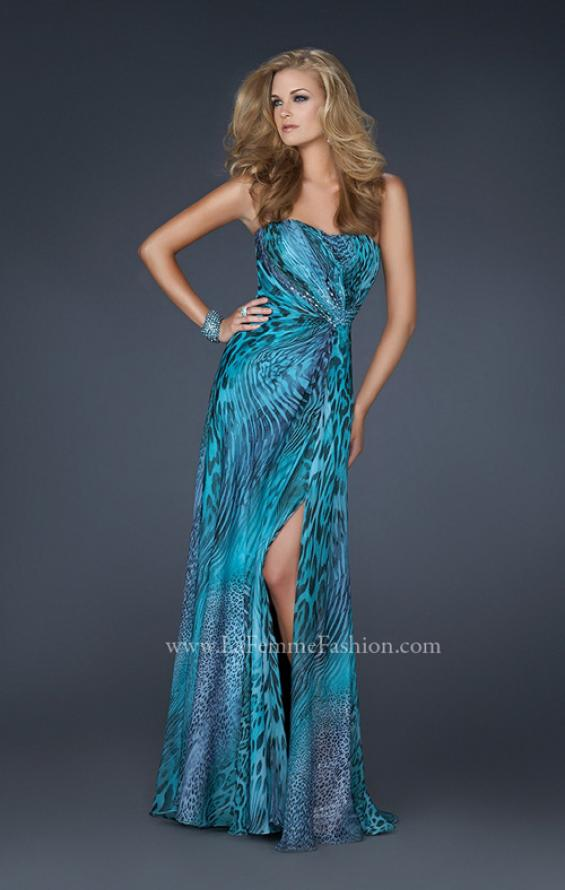 Picture of: Printed Prom Dress with Beaded Detail and Slit, Style: 17169 in Blue, Main Picture
