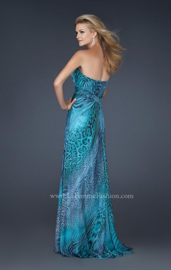 Picture of: Printed Prom Dress with Beaded Detail and Slit, Style: 17169 in Blue, Back Picture