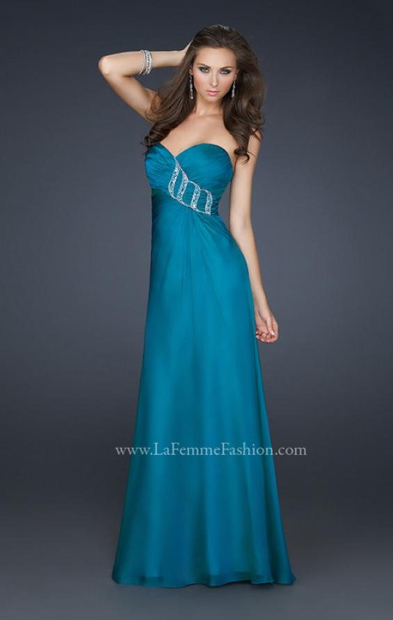 Picture of: Chiffon Prom Dress with Beading and Sweetheart Neck in Blue, Style: 17180, Main Picture