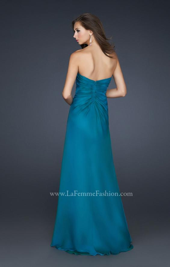 Picture of: Chiffon Prom Dress with Beading and Sweetheart Neck in Blue, Style: 17180, Back Picture