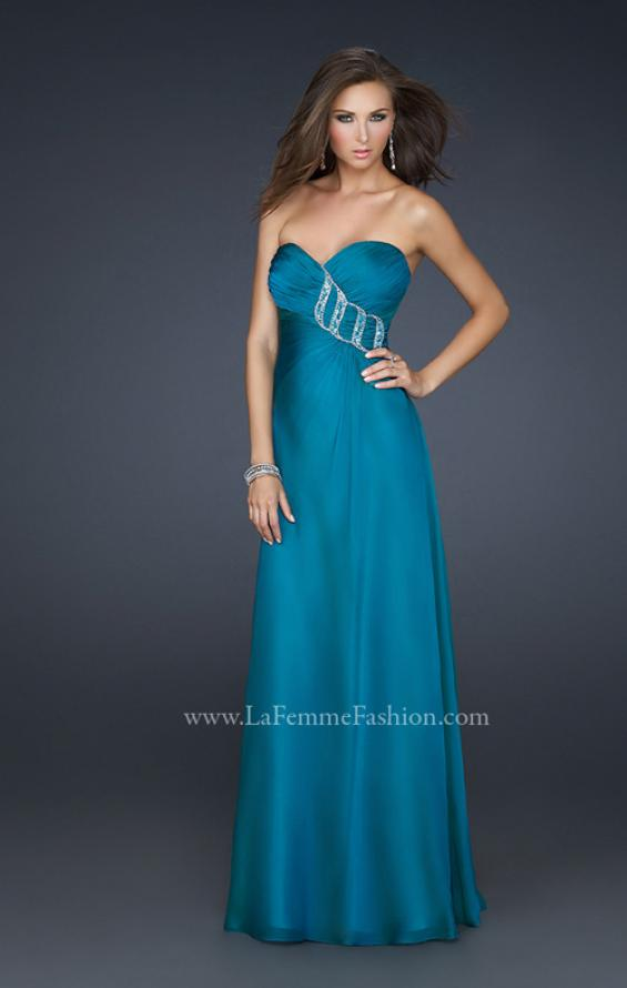 Picture of: Chiffon Prom Dress with Beading and Sweetheart Neck in Blue, Style: 17180, Detail Picture 1