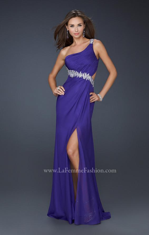 Picture of: Beaded Detail Long Prom Dress with Slit and Open Back in Purple, Style: 17188, Main Picture