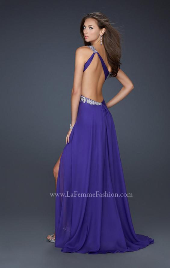 Picture of: Beaded Detail Long Prom Dress with Slit and Open Back in Purple, Style: 17188, Back Picture