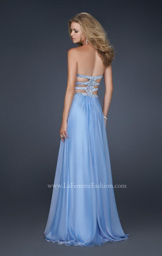 Picture of: Chiffon Prom Dress with Multiple Straps and Beading in Blue, Style: 17203, Back Picture