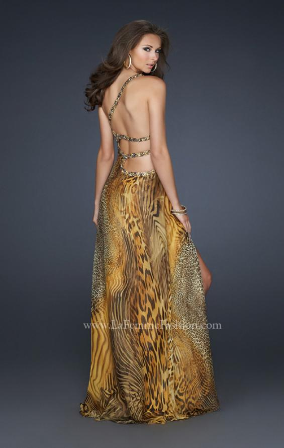 Picture of: Long Printed Prom Dress with Detailed Beaded Straps, Style: 17207, Main Picture