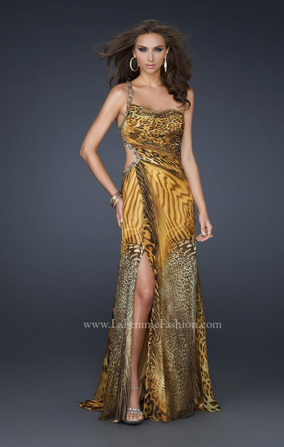 Picture of: Long Printed Prom Dress with Detailed Beaded Straps, Style: 17207, Back Picture
