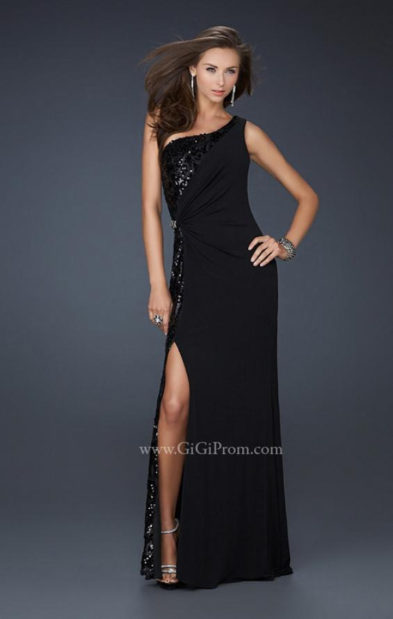 Picture of: Jersey Sequined Prom Dress with Open Back and Slit in Black, Style: 17224, Main Picture