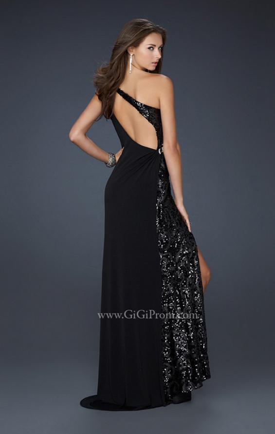 Picture of: Jersey Sequined Prom Dress with Open Back and Slit in Black, Style: 17224, Back Picture