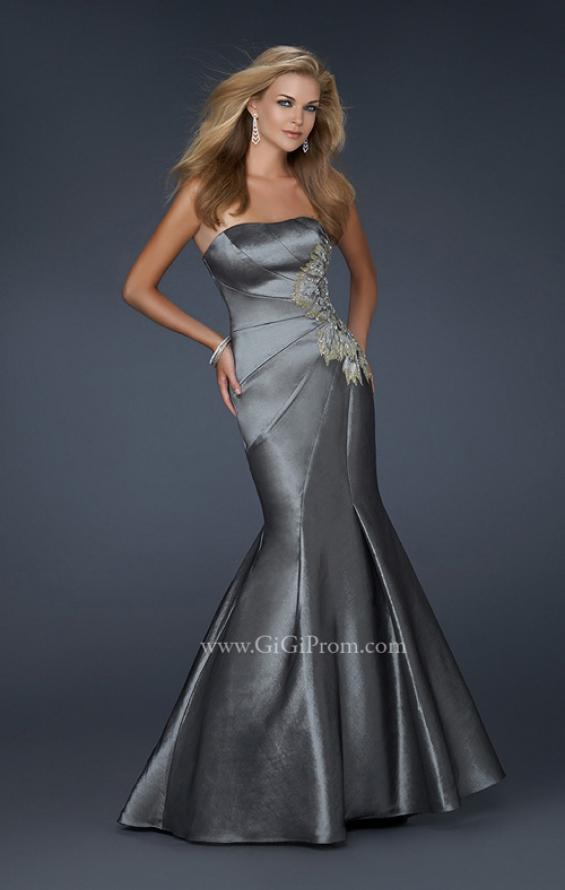 Picture of: Long Mermaid Taffeta Gown with Hip Embellishment in SIlver, Style: 17234, Main Picture
