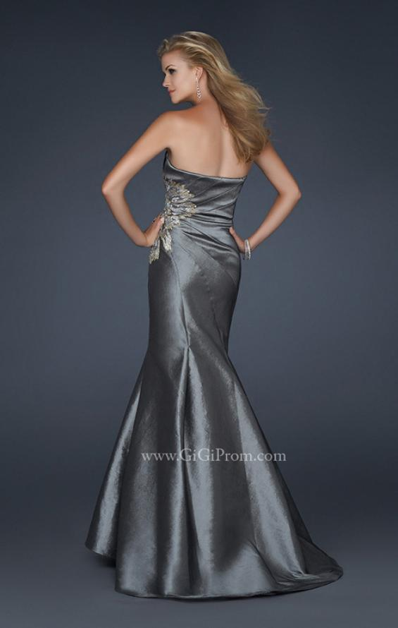 Picture of: Long Mermaid Taffeta Gown with Hip Embellishment in Silver, Style: 17234, Back Picture