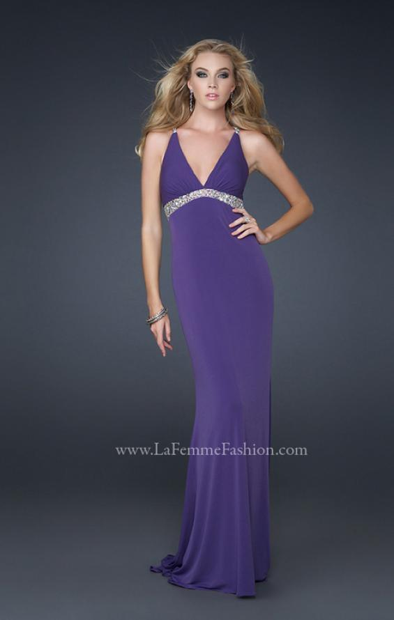 Picture of: Jersey Prom Dress with Criss Cross Open Back and Gems, Style: 17255, Detail Picture 1