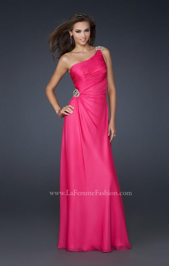 Picture of: One Shoulder Chiffon Prom Dress with Rhinestones in Pink, Style: 17259, Main Picture