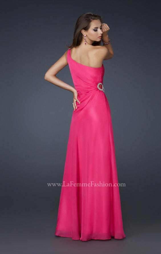 Picture of: One Shoulder Chiffon Prom Dress with Rhinestones in Pink, Style: 17259, Back Picture