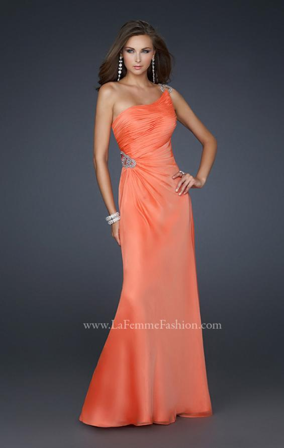 Picture of: One Shoulder Chiffon Prom Dress with Rhinestones in Orange, Style: 17259, Detail Picture 1
