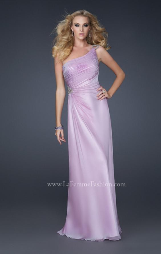 Picture of: One Shoulder Chiffon Prom Dress with Rhinestones in Purple, Style: 17259, Detail Picture 2