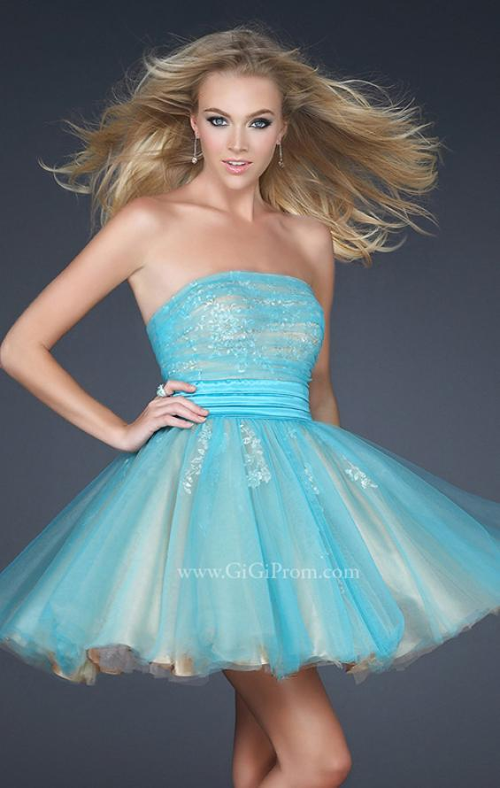 Picture of: Tulle Cocktail Dress with Lace Underlay in Aqua, Style: 17271, Main Picture