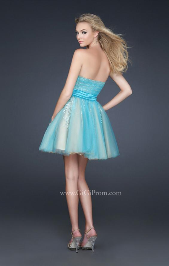 Picture of: Tulle Cocktail Dress with Lace Underlay in Aqua, Style: 17271, Back Picture