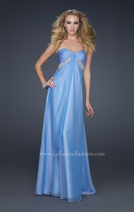 Picture of: Full Length Chiffon Dress with Exposed Back and Pleats, Style: 17318, Main Picture